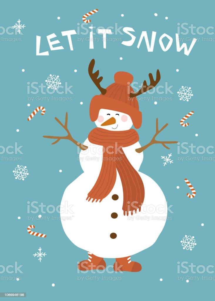 Frohliche Winter Weihnachtskarte Mit Lustigem Schneemann Basteln Malen Nahen Auf Weisse Und Magische Weihnachten Ncci1914 Com