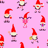 Winter christmas pattern with cute gnomes in red hats. Vector seamless texture for design