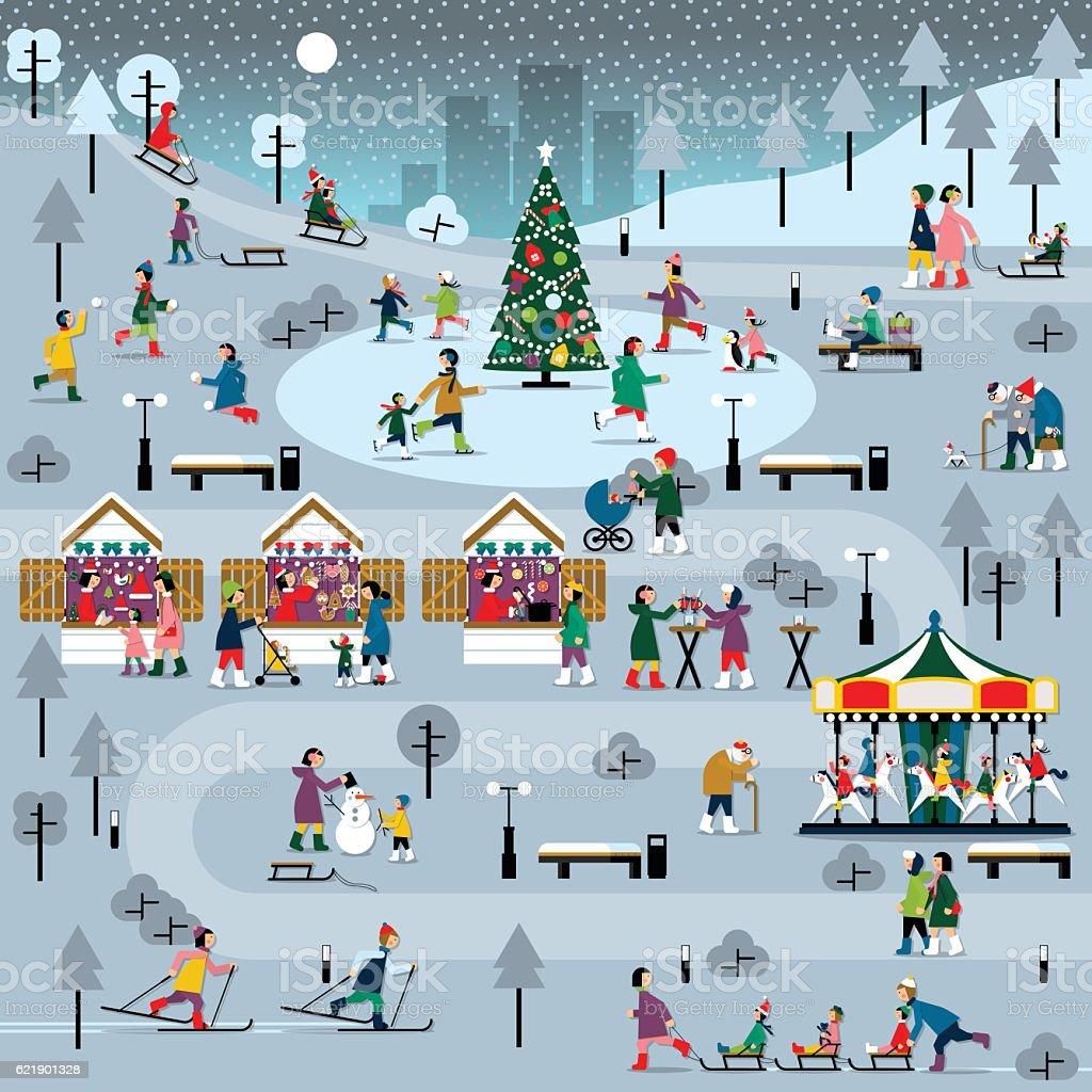Winter Christmas people set vector art illustration