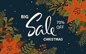 winter christmas promotional sale banner with xmas foliage flowers twigs berries background