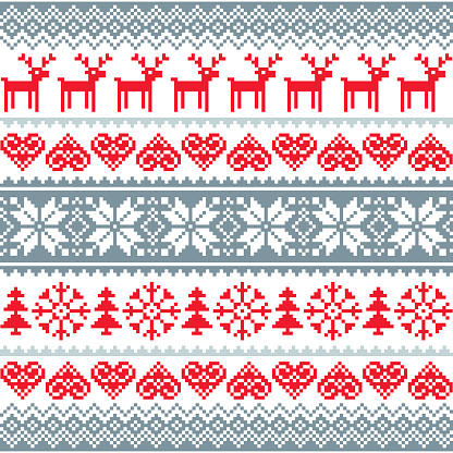 Winter, Christmas red and grey seamless pattern, Nordic background with reindeer and snowflakes
