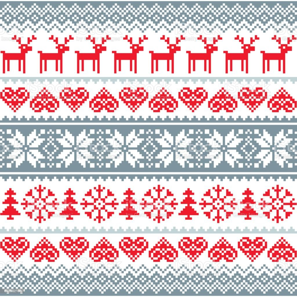 Winter, Christmas red and grey seamless pattern, Nordic background with reindeer and snowflakes vector art illustration