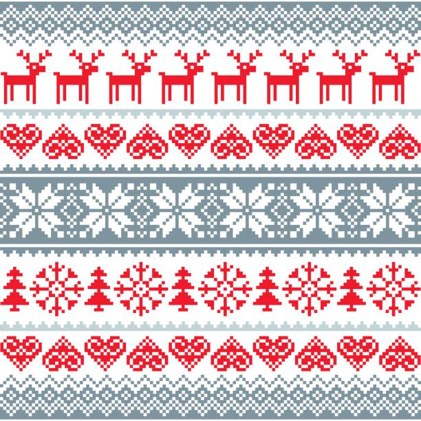 winter, christmas red and grey seamless pattern, nordic background with reindeer and snowflakes - winter fashion stock illustrations, clip art, cartoons, & icons