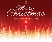 Red Merry Christmas party invite, poster or background vector