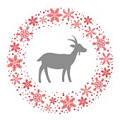 Winter Christmas Round Wreath with Snowflakes and Goat. Blue Gre