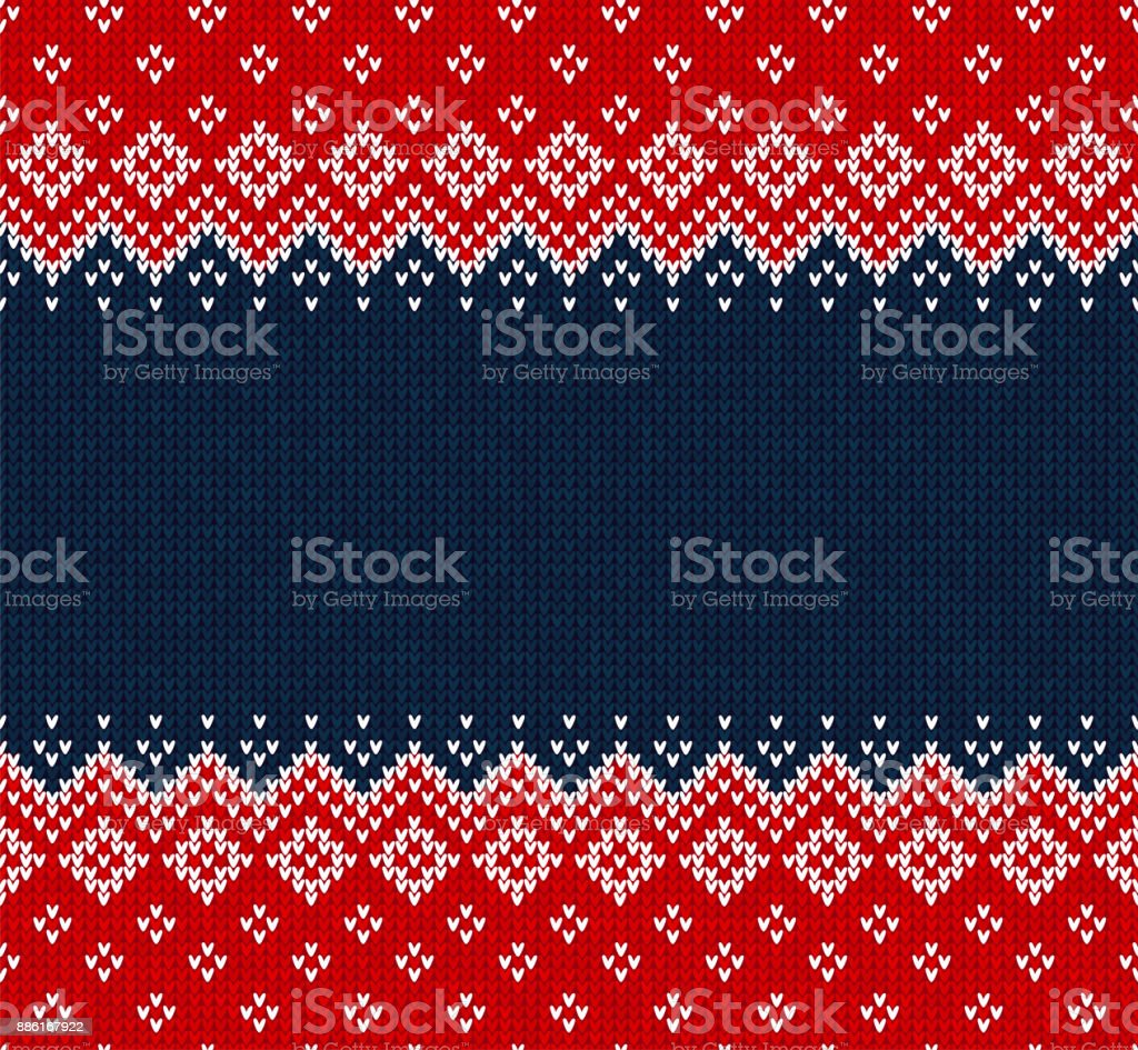 Winter Weihnachten skandinavisch gestrickt nahtlose abstrakten Hintergrund Rahmen und Grenze. – Vektorgrafik