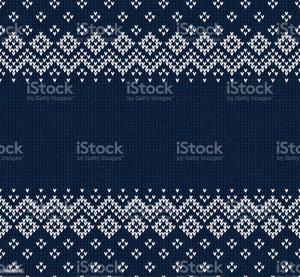 Winter Christmas Scandinavian knitted seamless abstract background frame and border. vector art illustration