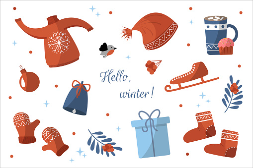 Winter Christmas signs. Set. Sweater, cocoa, mittens, boots, bell, skates, Christmas ball, gift, bullfinch