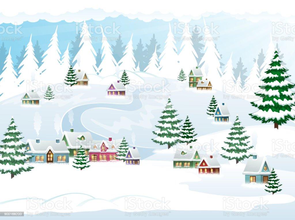 Szene Winter Weihnachten Schnee Stock Vektor Art und mehr Bilder von ...