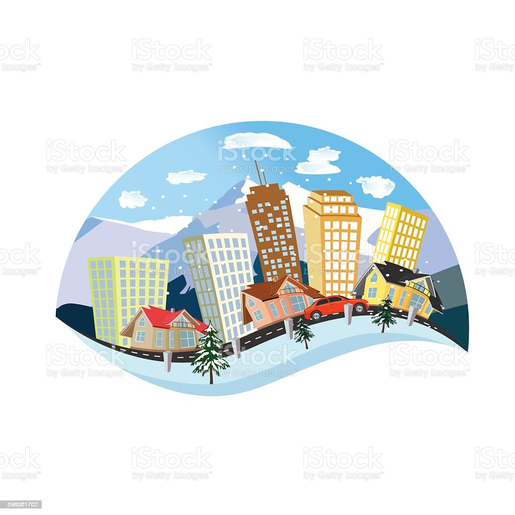 winter city concept, flat style, vector illustration royalty-free winter city concept flat style vector illustration stock vector art & more images of apartment