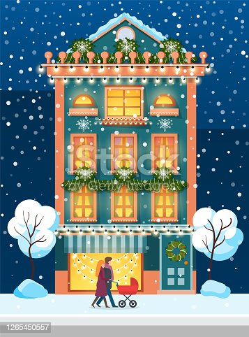 istock Winter City, House in Winter and People with Pram 1265450557
