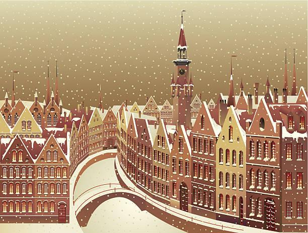 Winter city landscape vector art illustration