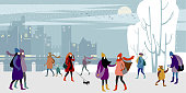 A groups of young urban girls and women in warm outer clothing  walk in the winter city quay