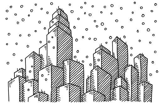 Winter Schneit Zeichnen Die Skyline Der Stadt Stock Vektor ...
