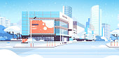 winter city snowy downtown street with skyscrapers business buildings sunshine cityscape background flat horizontal vector illustration