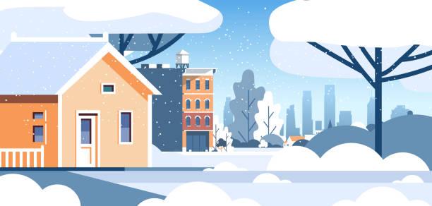 bildbanksillustrationer, clip art samt tecknat material och ikoner med vinterstad snöiga bostadshus område stadsbilden bakgrund platt horisontell - cold street