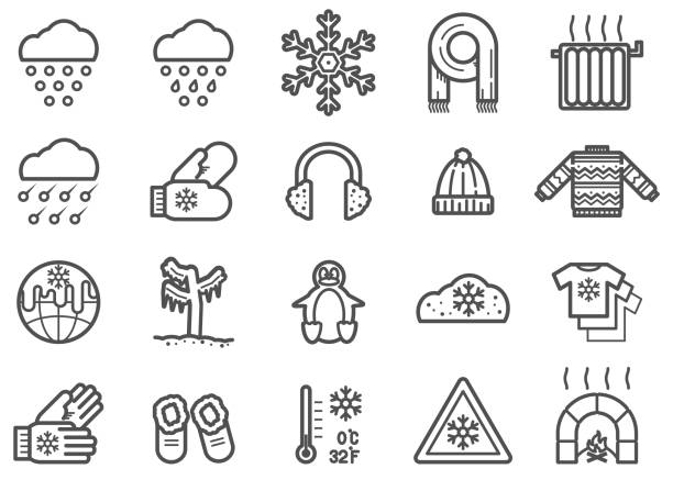Winter Clip Art Vectors and Line Icons Set Winter Clip Art Vectors and Line Icons Set hailstorm stock illustrations