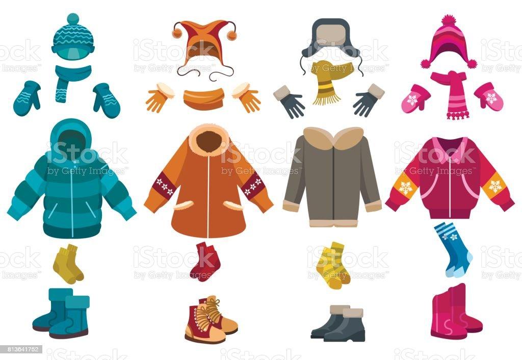 冬の服と寒冷アクセサリー ベクターアートイラスト