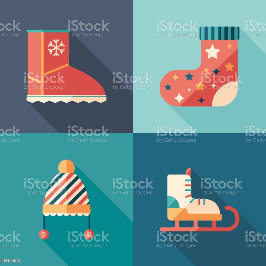 Winterkleidung Und Schuhe Flache Quadratische Icons Set Stock Vektor ...