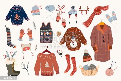istock Winter clothes collection, warm and cozy elements set 1278109711
