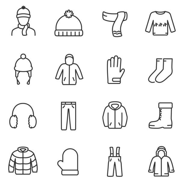 ilustrações, clipart, desenhos animados e ícones de conjunto de ícones de roupas de inverno. linha com curso editável - moda de inverno