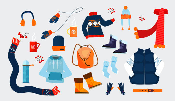 Winter clothes icons Winter clothes icons. Simple icons collection on grey background. Winter concept. Sweater, coat, hat. Illustrations can be used for topics like winter, holiday, clothes mitten stock illustrations