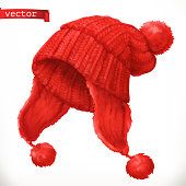 Winter clothes. Knitted cap 3d vector icon