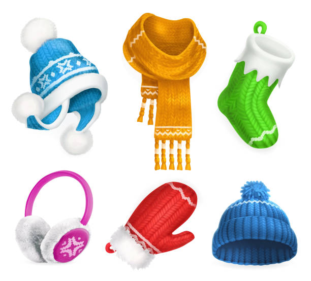 Winter clothes. Knitted hat. Christmas sock. Scarf. Mitten. Earmuffs. 3d vector icon set Winter clothes. Knitted hat. Christmas sock. Scarf. Mitten. Earmuffs. 3d vector icon set knit hat stock illustrations