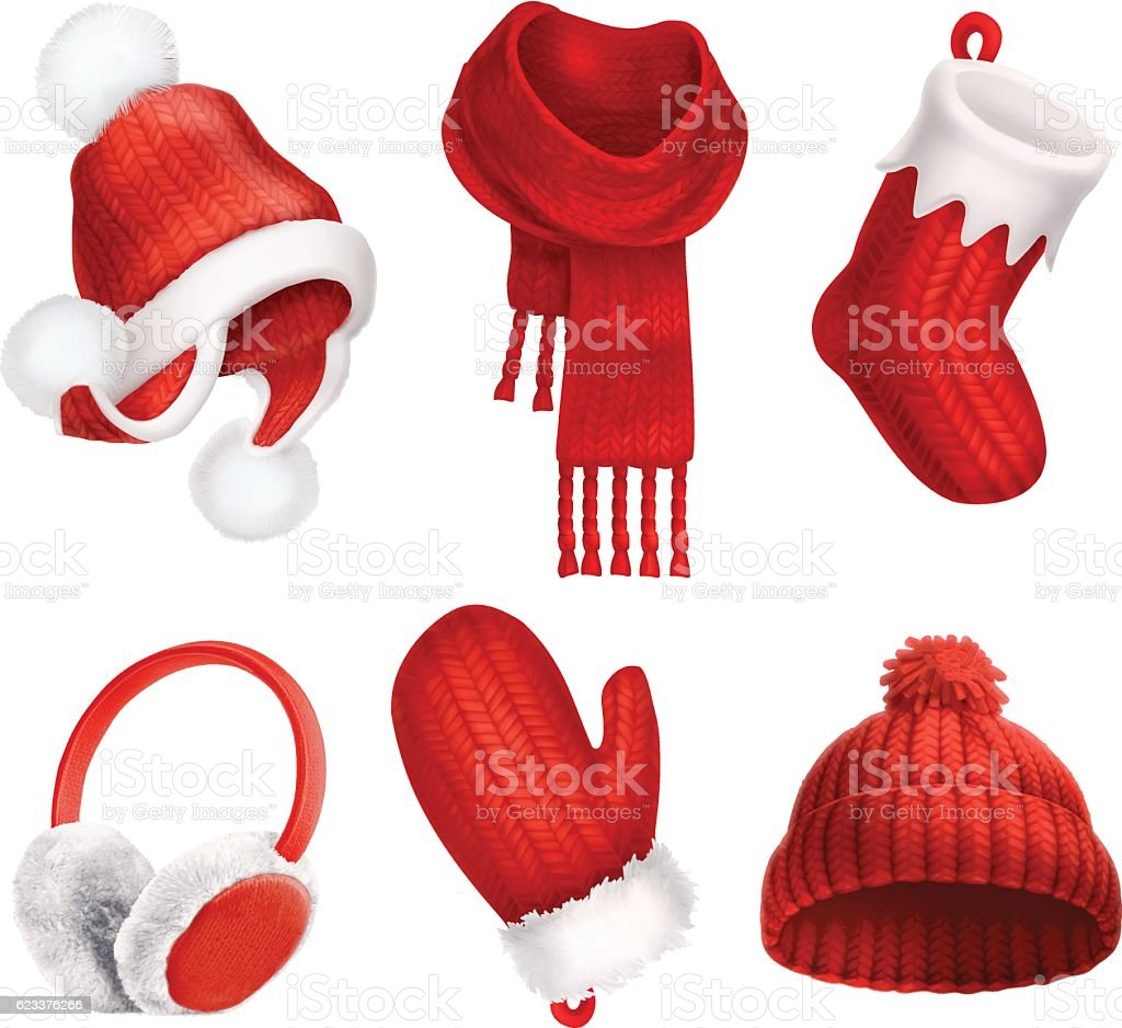 Winter clothes. Knitted hat. Christmas sock. Scarf. Mitten. Earmuffs vector art illustration