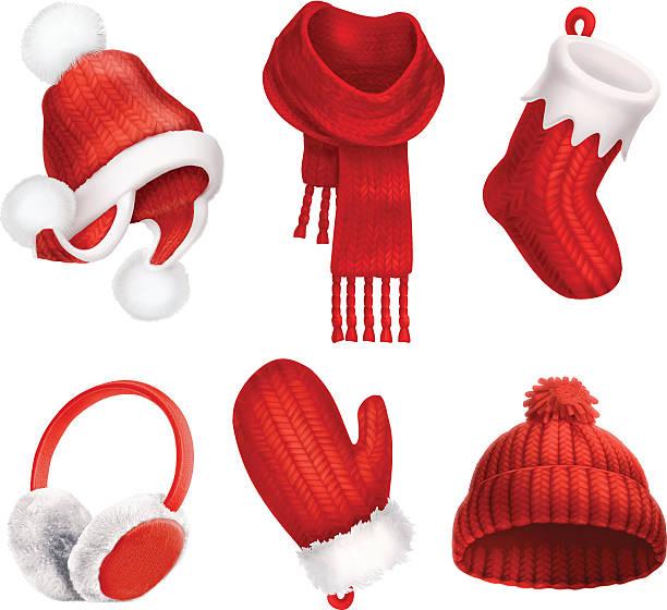winter clothes. knitted hat. christmas sock. scarf. mitten. earmuffs - schals stock-grafiken, -clipart, -cartoons und -symbole