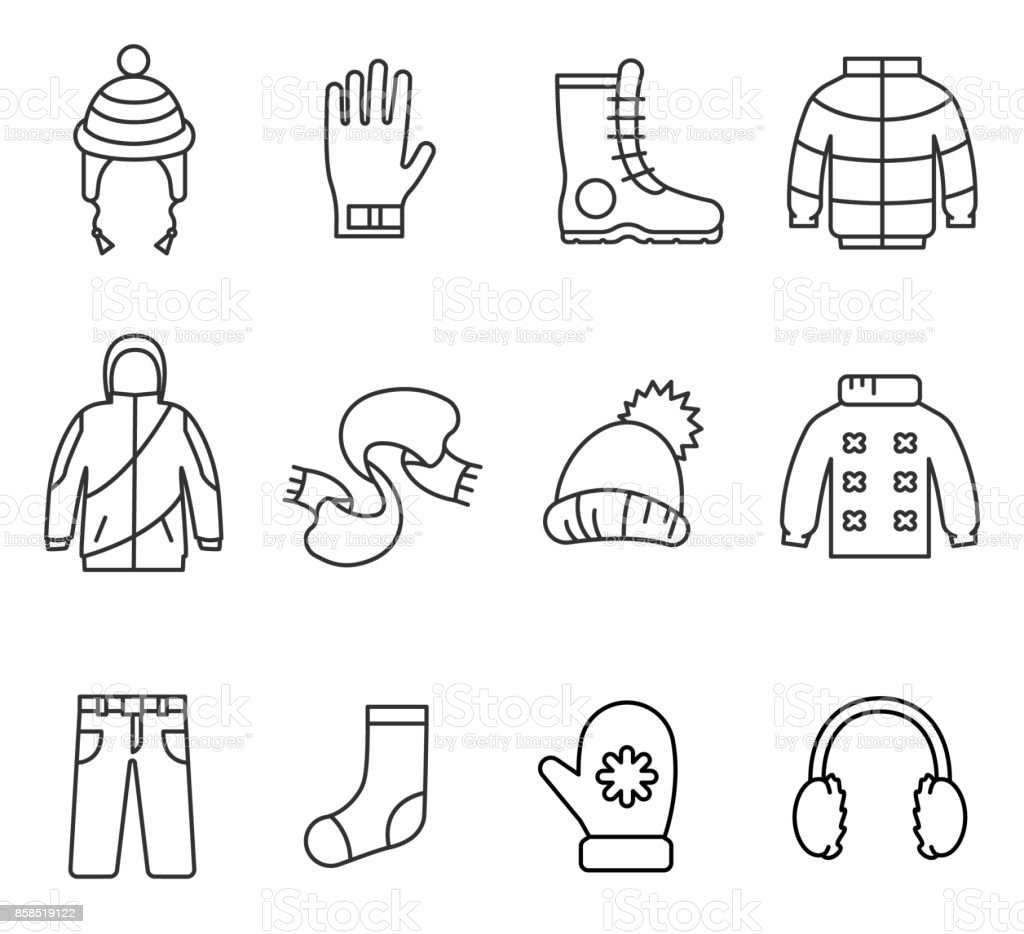 Winter clothes, line icons set. vector art illustration