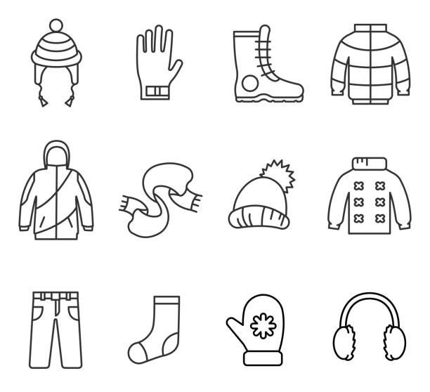 Winter clothes, line icons set. Winter clothes, line icons set. Warm clothes collection, vector linear illustration mitten stock illustrations