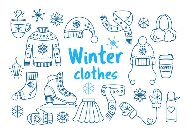 Winter clothes outline icon set Winter clothes outline icon set. Collection of warm clothing: mitten, sweater, scarf, woman skate, socks and hats in hand drawn style. Knitted fashion outfit with snowflakes. mitten stock illustrations