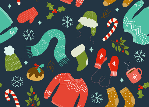 Winter Clothes Seamless Pattern