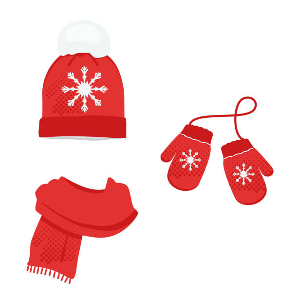 winter kleidung set - schals stock-grafiken, -clipart, -cartoons und -symbole