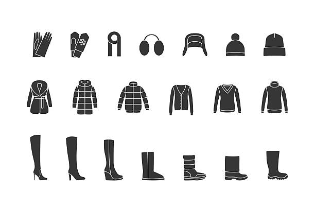 winter clothes, shoes black icons set. vector - pelzmäntel stock-grafiken, -clipart, -cartoons und -symbole