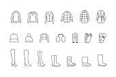 Winter clothes, shoes line icons set. Vector