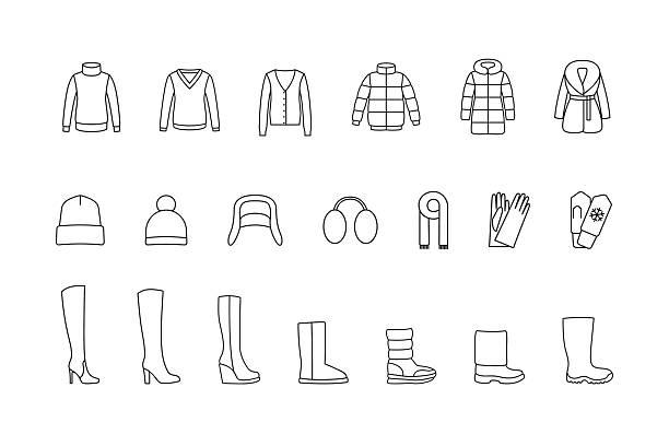 winter clothes, shoes line icons set. vector - pelzmäntel stock-grafiken, -clipart, -cartoons und -symbole