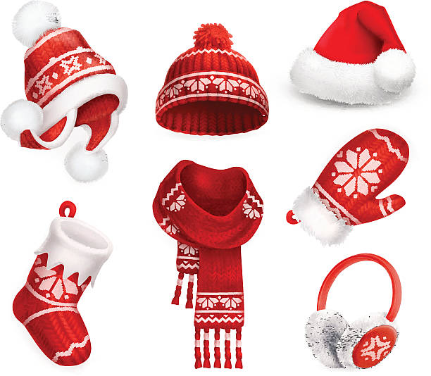 Winter clothes vector icon set Winter clothes. Santa stocking cap. Knitted hat. Christmas sock. Scarf. Mitten. Earmuffs. 3d vector icon santa hat illustrations stock illustrations