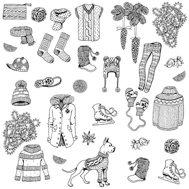 Winter Clothes. Winter holiday theme. vector art illustration
