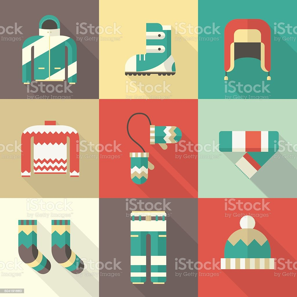 Winter Clothing and Sportswear Icons in Flat Design vector art illustration
