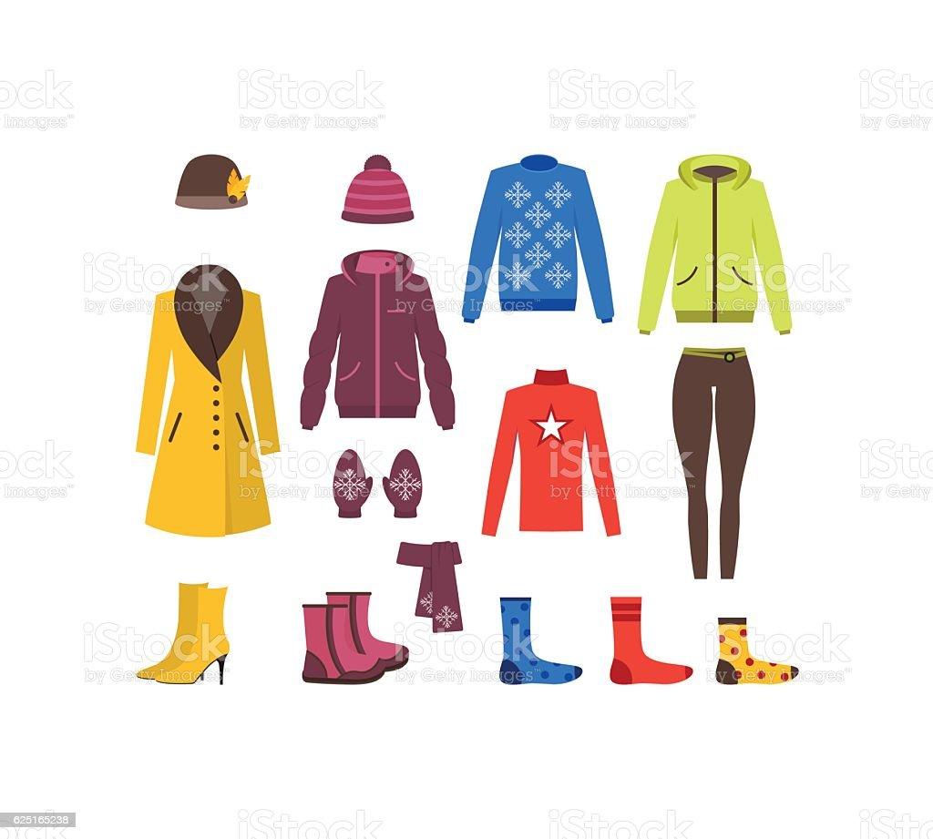 Winter Clothing Woman Set. Vector vector art illustration