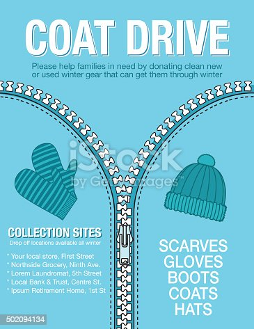 Winter Coat Drive Charity Poster template. Assortment of coats in shades of blue. Clothing collection or charity drive.