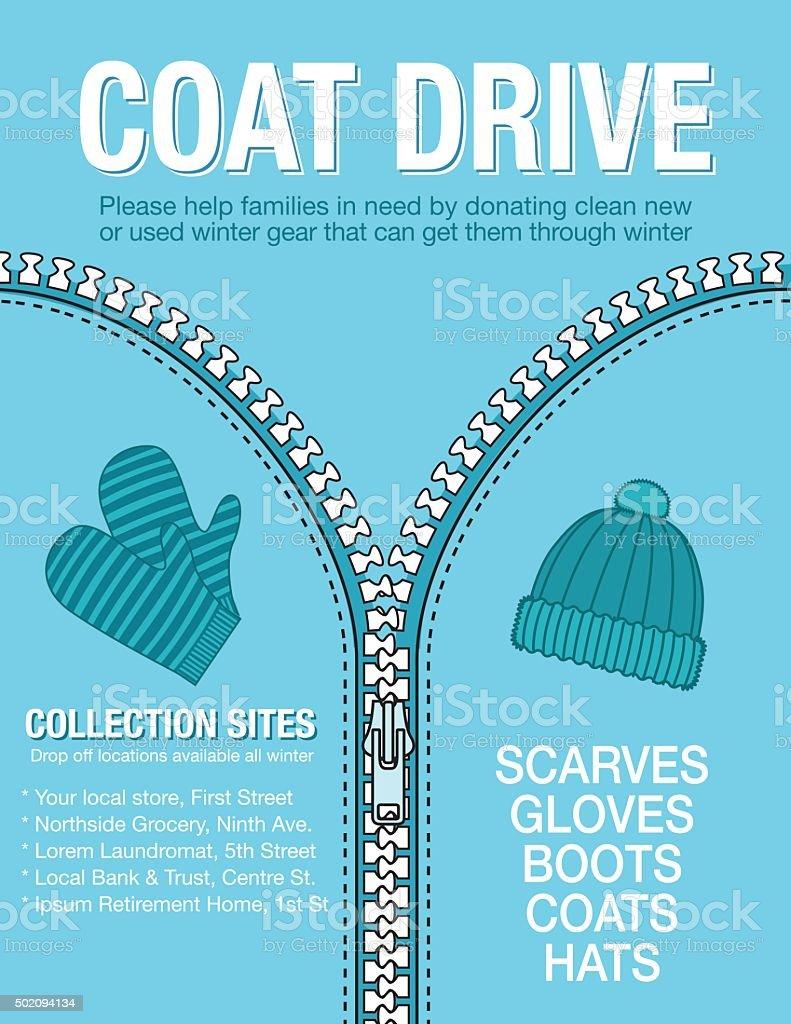 Winter Coat Drive Charity Poster template. vector art illustration