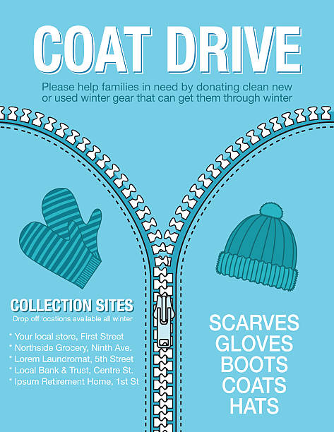 winter coat drive charity poster template. - stimulus stock illustrations