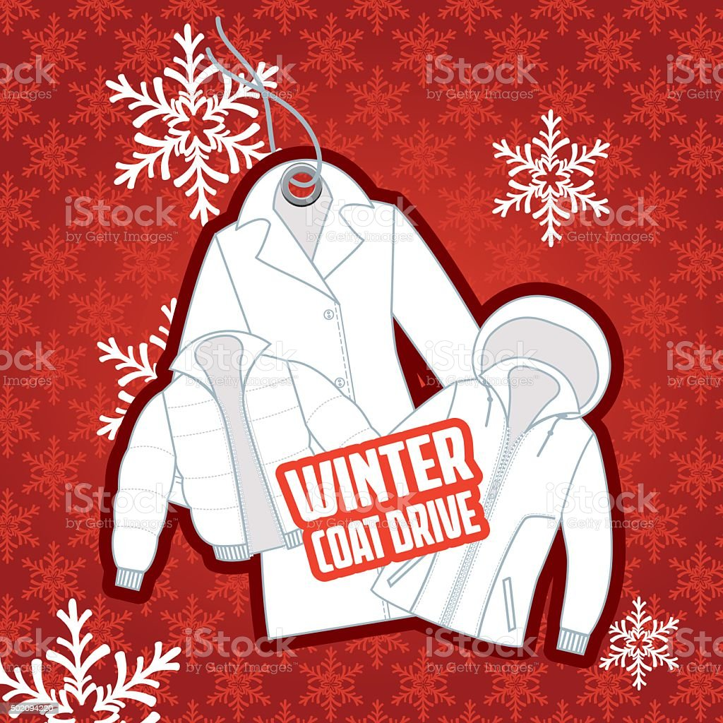Winter Coat Drive Charity Poster Template stock vector art