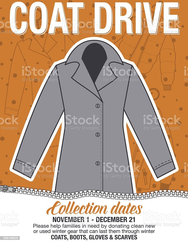 Winter Coat Drive Charity Poster Template Stock Vector Art & More ...