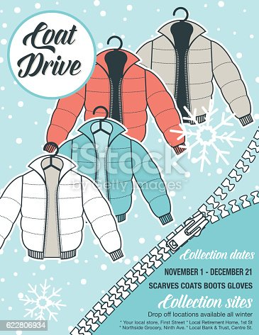 Winter Coat Drive Charity Tag template. A colorful assortment of coats in shades of blue and faded red. Clothing collection or charity drive.