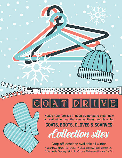 Winter Coat Drive Charity Poster template. Winter Coat Drive Charity Tag template. A colorful assortment of coats in shades of blue and faded red. Clothing collection or charity drive. mitten stock illustrations