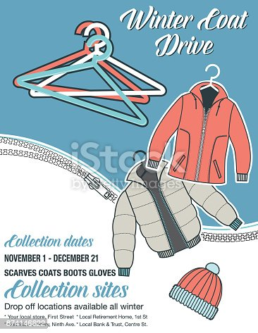 istock Winter Coat Drive Charity Poster template 874146622